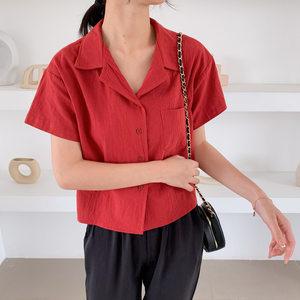 2019夏季复古女装棉麻短袖<span class=H>衬衣</span>气质纯色衬衫胖MM大码宽松短款上衣