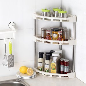 卫生间厨房<span class=H>置物架</span>塑料多层简约台式墙角三层碗筷三角形桌面放置调