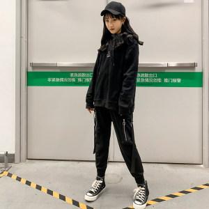 hiphop工装裤女2018秋冬季新款宽松bf学生束脚九分裤国潮帅气<span class=H>裤子</span>