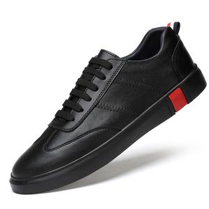 夏季真皮<span class=H>男鞋</span>青年百搭个性黑色<span class=H>板鞋</span>男韩版休闲皮鞋男士平底潮<span class=H>鞋子</span>