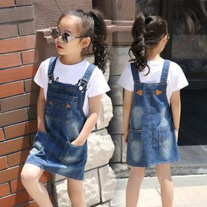 女童牛仔<span class=H>背带裙</span>夏季连衣裙中大童儿童休闲棉小女孩夏装2018新款潮