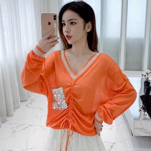 冰丝防晒衣女2019新款韩版宽松V领亮片口袋抽绳薄款蝙蝠针织罩衫
