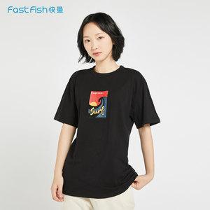 快鱼AGW系列T恤女新款趣味冲浪撞色印花个性圆领休闲套头衫<span class=H>上衣</span>