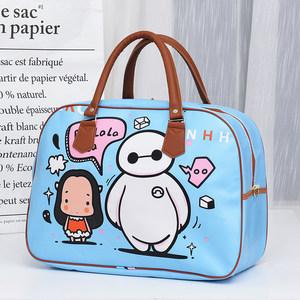 大容量韩版卡通PU手提<span class=H>旅行包</span>包女可爱小行李包学生短途出差旅游袋