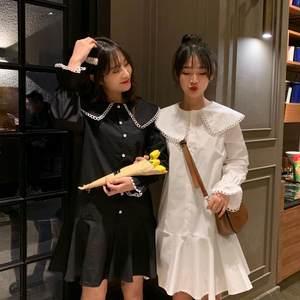 2019夏季新款韩版百搭娃娃领单排扣喇叭袖短款荷叶边雪纺<span class=H>连衣裙</span>女