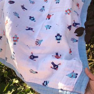 特出口A类新生婴儿童全棉纯棉纱布浴巾加大加厚包被包巾抱毯毯