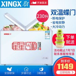 XINGX/星星 BCD-230HE <span class=H>冰柜</span><span class=H>家用</span>小型 冷冻冷藏<span class=H>双</span><span class=H>温</span>冷柜商用大容量