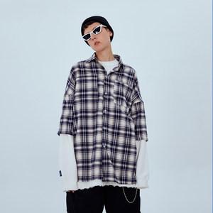F3ML19SS复古宽松口袋格纹短袖衬衫男oversize格子半袖外套男女潮