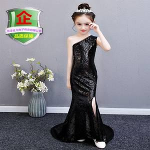新款修身女童黑色亮片鱼尾<span class=H>礼服</span>裙模特走秀歌唱比赛拖尾钢琴演出服