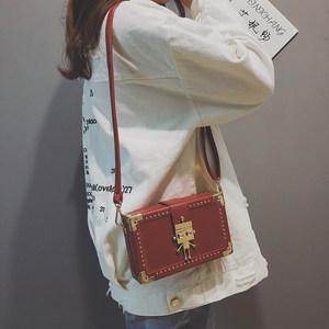 包包女2018新款潮单肩包斜挎包时尚<span class=H>创意</span>锁扣个性百搭小方包盒子包