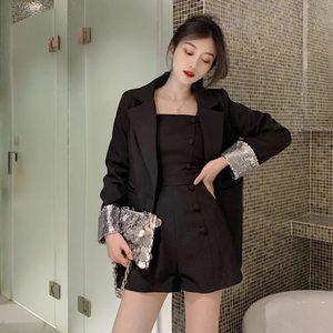 春装2019新款时尚套装女生西服拼接亮片+吊带双排扣<span class=H>连体裤</span>两件套