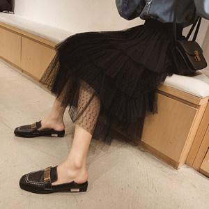 2019春装新款女韩版学生蓬蓬高腰波点蛋糕裙松紧腰网纱裙半身长裙