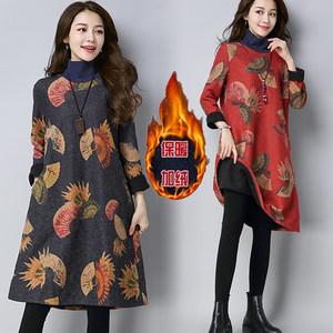冬季新款民族风印花中长款<span class=H>连衣裙</span>宽松大码加绒半高领毛呢打底裙厚