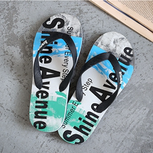 Summer breathable personality sandals trend slippers Men wear anti-skid beach shoes indoors and outdoors with graffiti flip-flops