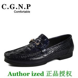新款时尚鳄鱼皮纹 英伦潮流男士帆船鞋真皮透气男<span class=H>鞋子</span> 休闲驾正品