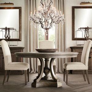 法式乡村圆<span class=H>餐桌</span>椅组合 美式橡木仿古复古风格 地中海实木家具定制