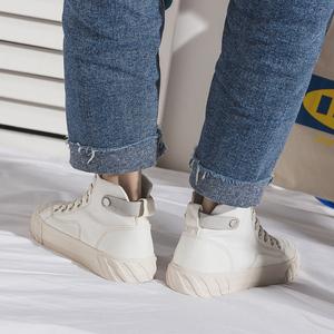 高帮<span class=H>帆布鞋</span>女2019新款百搭韩版小白鞋女ins学生平底运动港风板鞋