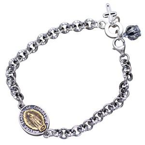s925纯银欧美个性圣母玛丽亚十字架?#20351;?span class=H>手链</span>男女复古泰银情侣礼物