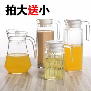 天天特价玻璃<span class=H>冷水壶</span>玻璃壶凉水壶竖条壶大容量带盖创意家用凉水壶