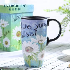领10元券购买EverGreen创意家用北欧潮流ins早餐杯带盖牛奶杯生日礼物送女生