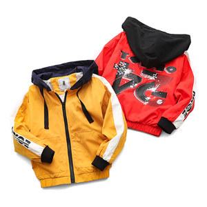 包邮男童拼接外套中大童连帽长袖<span class=H>夹克</span>衫休闲拉链衫110-160
