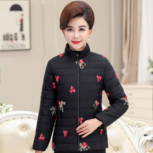 Middle-aged and old women's cotton-padded jacket short-style anti-season milk cotton-padded jacket mother wears large-scale embroidered cotton clothes in autumn and winter