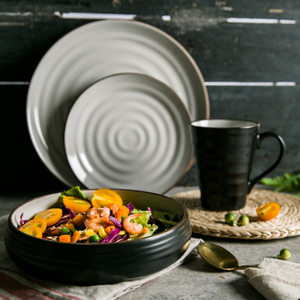 莫兰迪 欧式个性黑色芝麻釉螺纹沙拉碗菜碗汤钵深盘汤面碗钵型碗