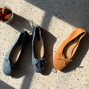 平底圆头百搭橘色圆脚<span class=H>单鞋</span>浅口学生鞋子女鞋2019年潮鞋春鞋仙女风