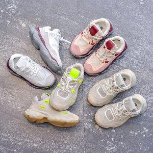 女童网面<span class=H>运动鞋</span>2019春新款韩版儿童老爹鞋男童休闲鞋真皮篮球鞋潮