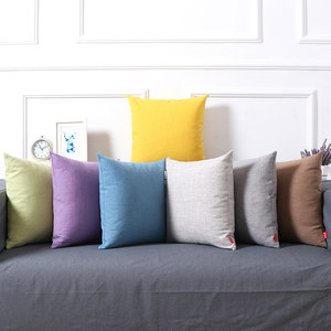 棉麻文艺风加厚纯色<span class=H>抱枕</span>客厅沙发办公室床头靠垫简约日式靠枕含芯