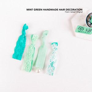 特价 虽是小小发圈 但用心制作 薄荷绿色系的<span class=H>发带</span>发绳 蕾丝双层