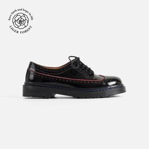 力果森林 新款拼色英伦低跟布洛克学院风单鞋 真皮牛津鞋<span class=H>女鞋</span>子
