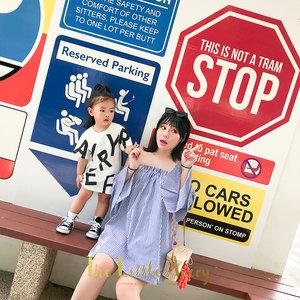 「董完了」女童<span class=H>T恤</span>夏装儿童短袖中长款连衣裙女宝宝字母体恤裙ins