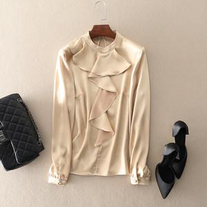 left lady 2018冬季新款气质<span class=H>女装</span>修身欧美大牌花边领口上衣打底衫