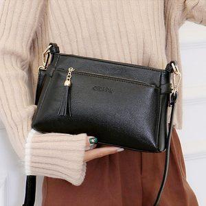 女装手袋中年妇女包妈妈款斜背包真皮包单肩斜挂包三层女士小包包