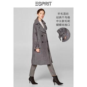 ESPRIT<span class=H>女装</span>冬羊毛混纺时尚千鸟格毛呢大衣<span class=H>外套</span>女-108EO1G031