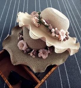 手工花朵花环<span class=H>草帽</span>子 波西米亚沙滩女士大沿帽 夏季新品田园遮阳帽
