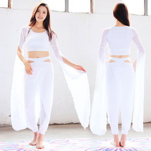 <span class=H>瑜伽服</span>仙气套装女2017新款舞韵运动装备韩国韩舞服装宽松网纱上衣