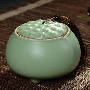 精品开片汝窑<span class=H>茶叶罐</span> 大号陶瓷罐 普洱茶罐 密封茶罐 红茶储存罐