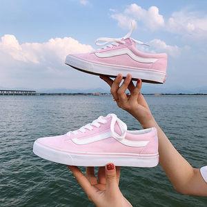 明星同款韩国粉色低帮帆布鞋经典滑板鞋学生系带平跟休闲鞋女鞋潮