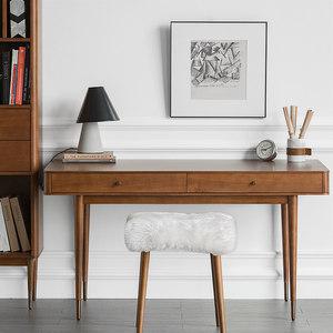 北欧实木书桌现代简约家用书房卧室胡桃木色办公室桌写字台<span class=H>电脑桌</span>
