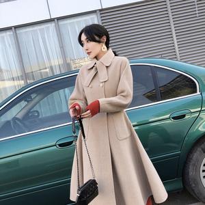 2018冬季新款经典裙摆双面呢大衣中长款气质毛呢外套<span class=H>女装</span>安娜家