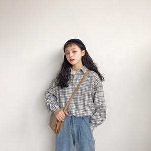 <span class=H>衬衫</span>女长袖2018新款韩国宽松中长款格子上衣学生bf显瘦打底衫冬装