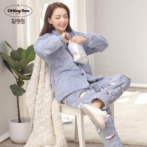 睡衣女冬加厚三层夹棉套装珊瑚绒甜美可爱加绒法兰绒可外穿家居服