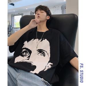 @方少<span class=H>男装</span> 夏季纯色休闲短袖T恤百搭时尚韩版宽松潮流半袖体恤衫