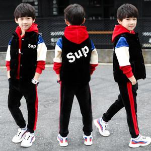 男童金丝绒<span class=H>卫衣</span>马甲三件套12中大童15加厚秋冬装儿童韩版洋气套装