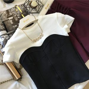 2019夏季新款<span class=H>女装</span>黑白撞色裹胸修身打底<span class=H>针织衫</span>女短袖T恤上衣