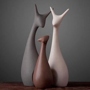 北欧<span class=H>家居</span>客厅陶瓷摆件创意桌面酒柜装饰品摆件结婚礼物房间小摆设