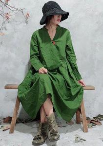 原创设计复古民族风盘扣V领棉麻长袖连衣裙宽松休闲长裙子女秋季