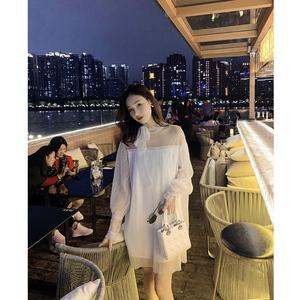 女装2019春夏新款白色网纱性感连衣裙名媛高定优雅系带公主裙